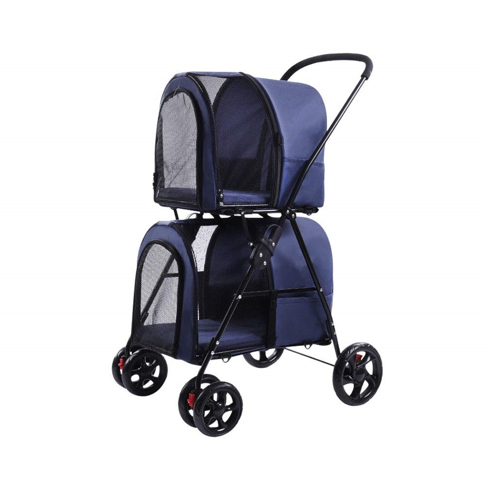 double pet stroller with detachable carrier