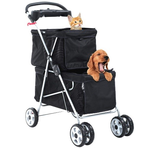 Double cat and dog stroller