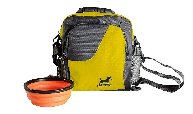 Yellow puppy travel bag
