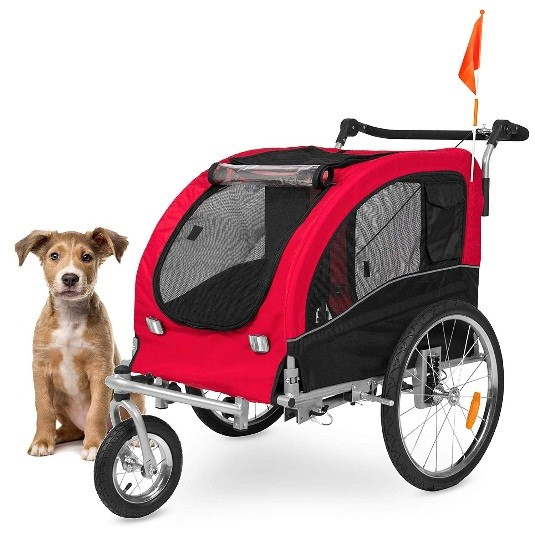 2 in 1 pet stroller and trailer red
