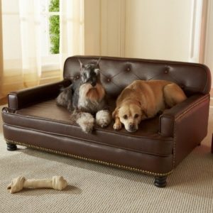good leather dog bed