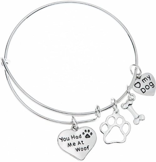 Dog Charm Bracelet Paw Print Jewelry Dog Lovers Bracelet Dog Owner Bangle Perfect Gift for Dog Lovers