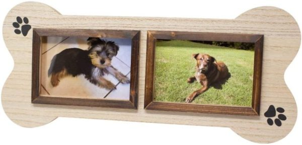Dog Picture Frame Unique Collage 4x6 Two Photo Picture Frame in The Shape of a Dog Bone. Makes a Great Gift for Anyone who has Dogs