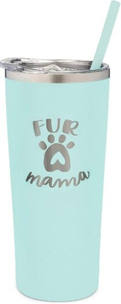 SassyCups Fur Mama Travel Mug 22 Ounce Engraved Mint Stainless Steel Insulated Tumbler with Lid and Straw Dog Mom Dog Lover Dog Owner Dog Person From Dog